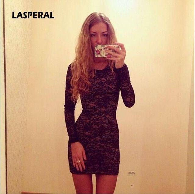 LASPERAL New Fashion Women Dress Sexy Bodycon Sheath Long Sleeve Full Zip Back Hot Selling Short Lace Dresses 2017 De Festa