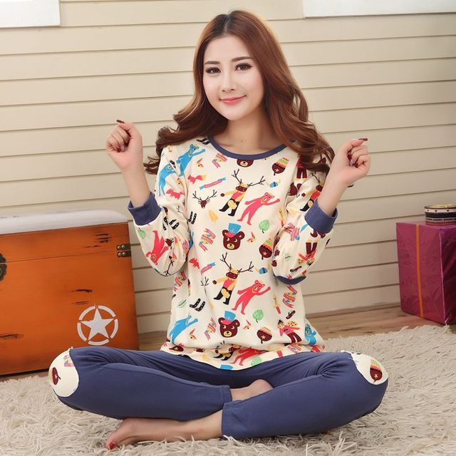 Autumn & Winter Cotton Pyjamas Women Girl Pajama Sets Cartoon Sleepwear Pajamas for women Long-Sleeved Tracksuit sets women