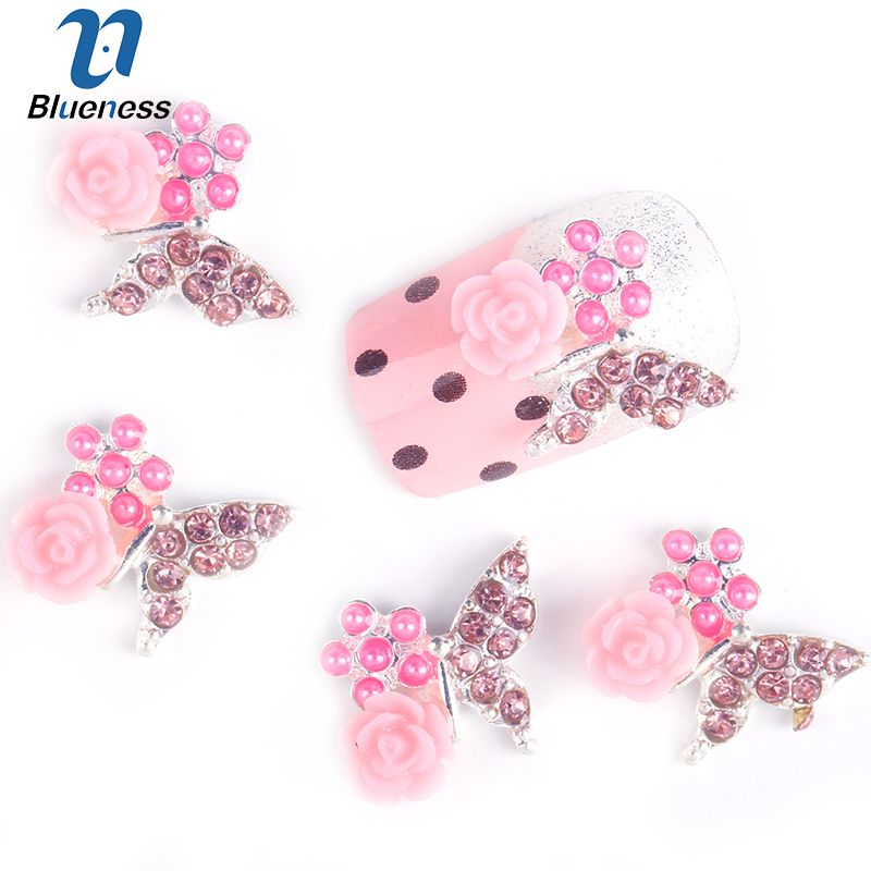 Blueness 10Pcs/Lot Butterfly Flower Design Nail Studs Pearl Alloy Rhinestones For 3D Strass Nail Art Decorations TN122