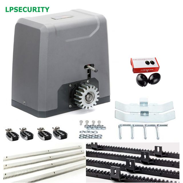 LPSECURITY 1500kg heavy duty AUTOMATIC 4 consoles SLIDING GATE OPENER Motor 4m nylon gear racks 1 pair infrared beam photocells