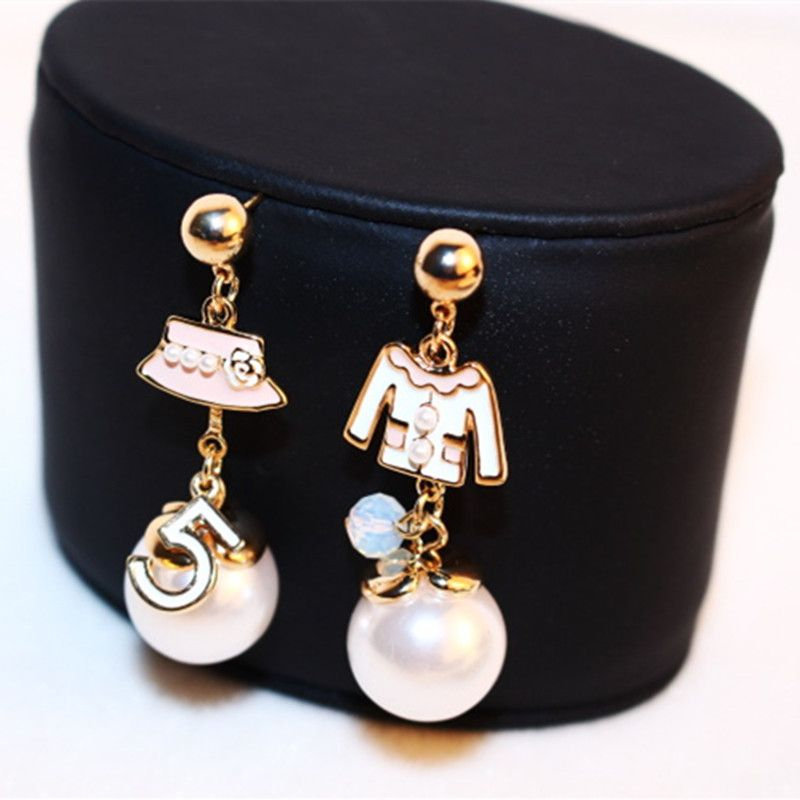 CX-Shirling Women Irregular Hat Coat Earring Real Rose Gold Anti-Allergy Letter 5  Earring Female  Party Fine Pearl  Earring