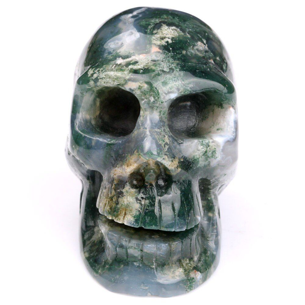 "2.0""Natural Stone Green Moss Agate Skull Quartz Crystal Head for Halloween Decoration Reiki Healing Crafts SKC082"