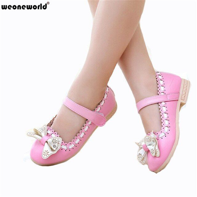 WEONEWORLD 2018 New Spring Autumn Girls Dress Shoes for Children Kids Girl PU Leather Princess Fashion Casual School Shoes