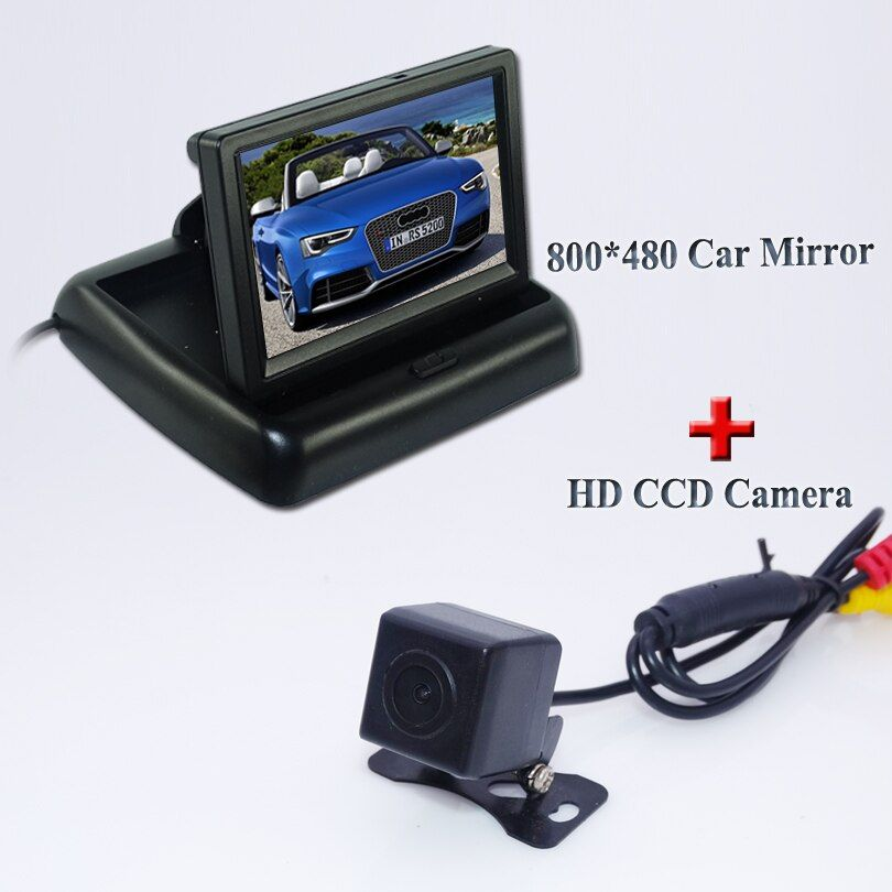 "Free shipping  Car RearView Camera kit 4.3"" LCD Color Mirror Monitors + Mini Back Up Camera Parking Night Vision"