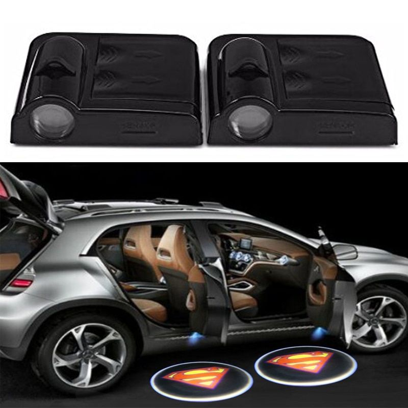 2 x Wireless Led Car Door Projector Lights Auto Courtesy Welcome Logo Shadow Lamp Laser Projection Magnet Sensor Superman logo