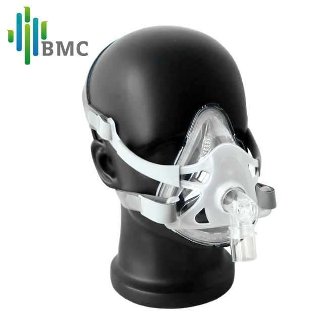 BMC F1A Full Face Mask For CPAP Bipap Machine COPD Snoring And Sleep Therapy Size SML Connect Face And Hose With Headgear Clips