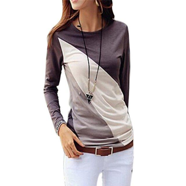Women T-shirt Long Sleeve O-neck Slim Women Top Patchwaork Color Casual Shirt Femme Poleras Camisetas Mujer