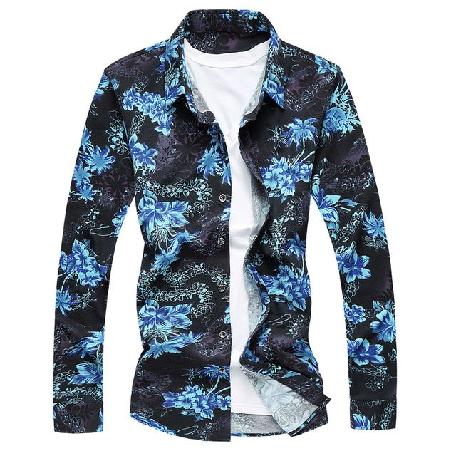 Casual Shirt for Men Blue Yellow Printed Shirts Floral Young Men Trendy Modern Look Fashion Shirt Long Sleeve Male Fit Gent Life
