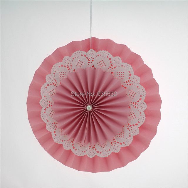 New! 20pcs/lot 12''(30cm) Pink Paper Fans for Wedding Party Decorations free shipping