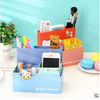 12 pcs/lot Cute One Piece & Hello Kitty DIY Paper Desktop Stationery Storage Case Holder Mini Sundries Holder