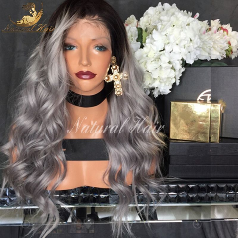 8a Ombre Human Hair Wig Middle Part Virgin Ombre Two Tone Brazilian Glueless wavy Lace Front Human Hair Wigs