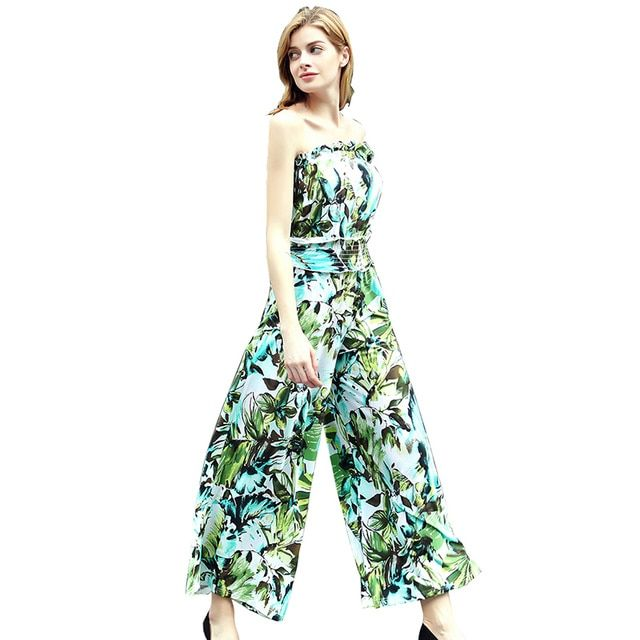 Summer Brand New Women Fashion Fresh Green Flower Print Strapless Ruffle Tube Collar Elastic Waist Wide Leg Elegant Jumpsuit