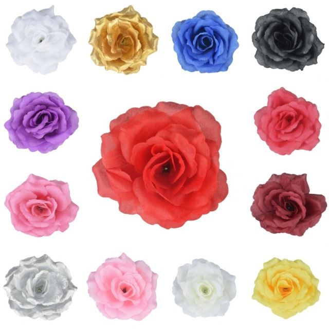 100 Pieces 11Cm  4 Inches Artificial Silk Big Rose Flower Heads Home Garden Decor Party & Wedding Hair Clip Favors
