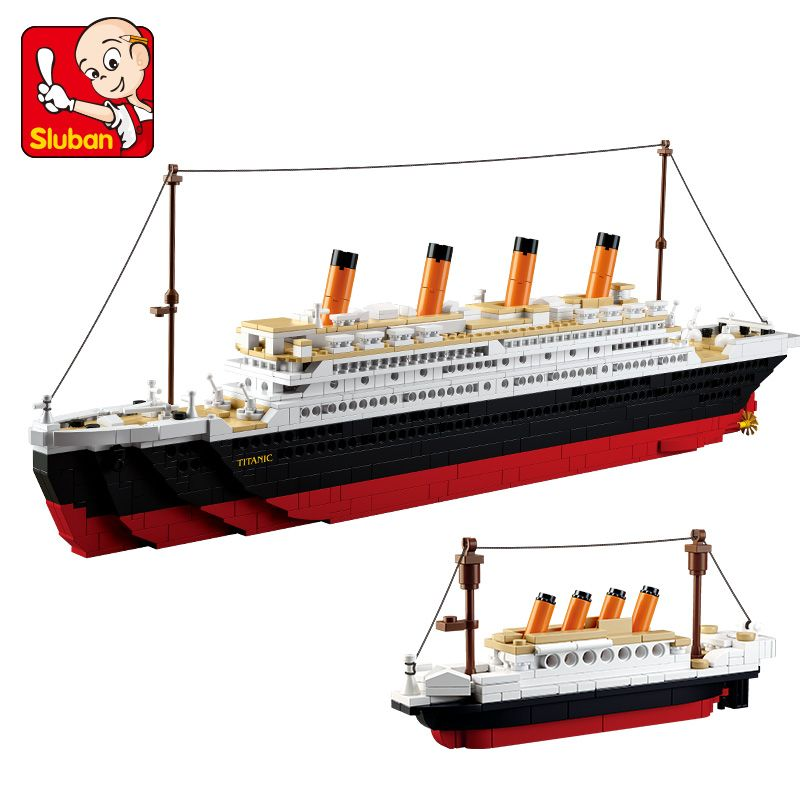 Sluban New 1021PCS B0577 Building Blocks Toy Cruise Ship RMS Titanic Ship Boat 3D Model Educational Gift Toy  brinquedos DIY
