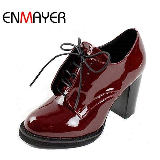 ENMAYER Fashion Women's Ankle Boots Lace-Up Platform Women Boots for Women Wedding Shoes High Heels Motorcycle Boots Shoes Woman