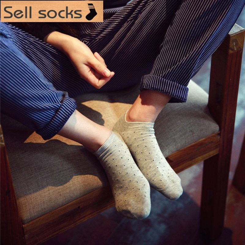 Clearance!  brand new summer women Pure color small dots Casual  ankle cotton socks boat sock slippers harajuku EUR35-40