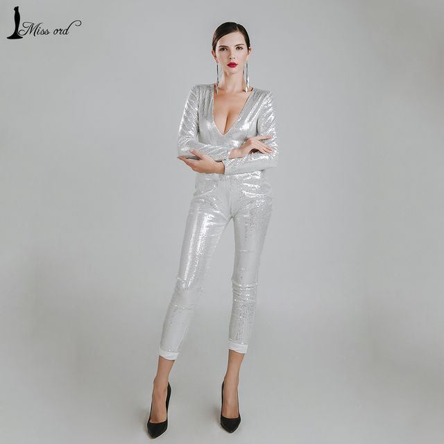 Missord 2016 Sexy deep v long sleeve sequin JUMPSUITS FT4784