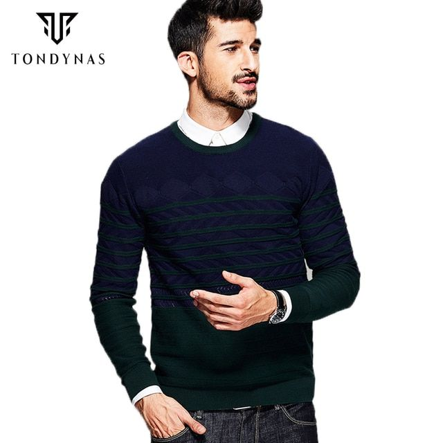 TONDYNAS Man striped long sleeve sweater,male cotton O-neck pullovers sweater 16909
