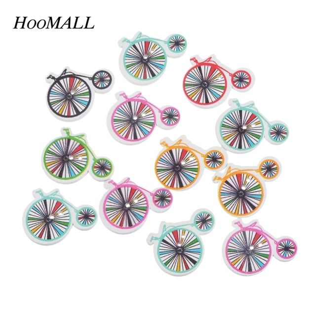 Hoomall 50PCs Mixed Color Wheel Wooden Buttons Two Holes DIY Scrapbooking Crafts Decor Sewing Accessories 23x30mm