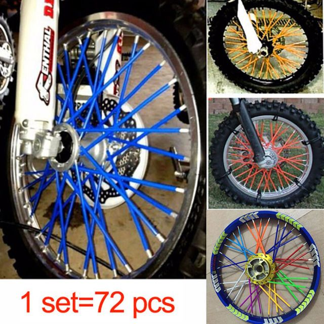 72pcs/Pack Bicyle Bike Spokes Wheel Light MTB Mountain Road Bike Safety Warn Reflective Spoke Light Snap-On Clip Tube 6 Colors