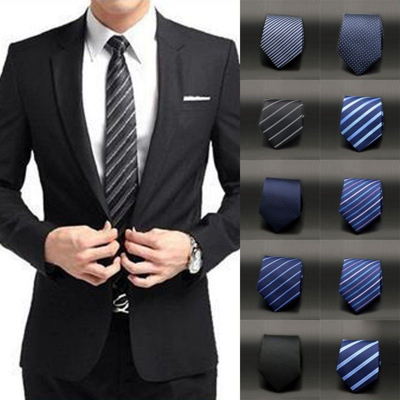 New Men Slim Necktie Tie Party Wedding Classic Jacquard Woven Plain Skinny Silk