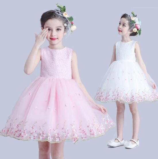 Newest Ball Gown Dress for Girls Elegant Festive Sweet Bruidsmeisjes Jurk Kids Wedding Floral New Year Costumes For Children