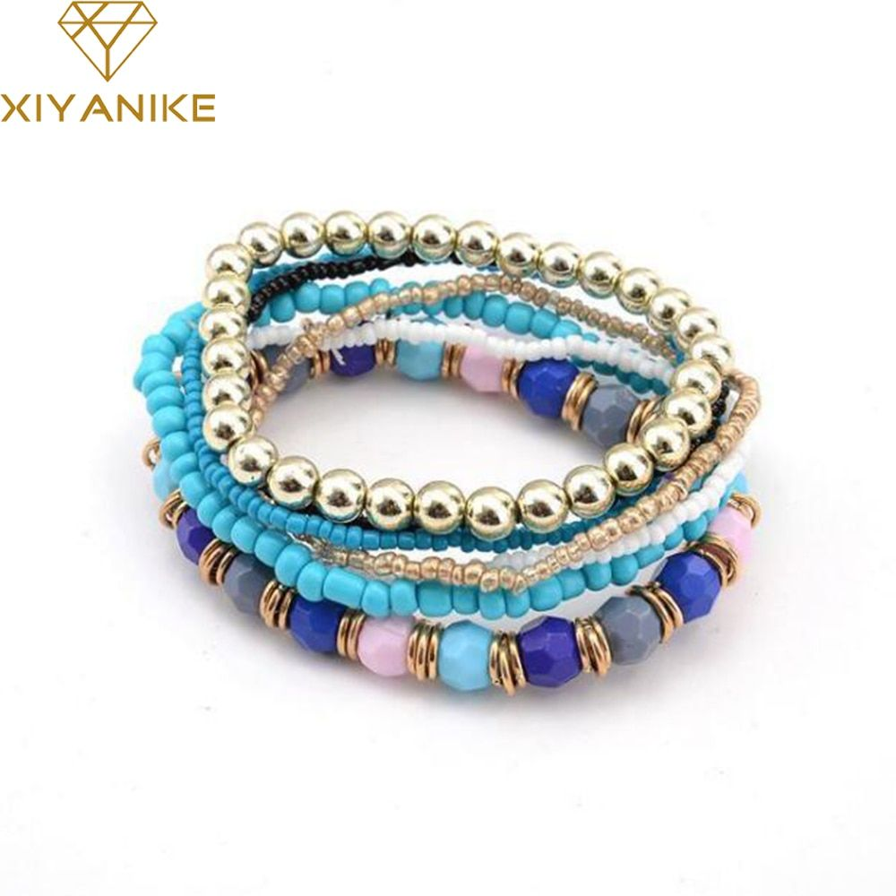 New Spring Korean Designer Fashion Bohemia Bead Bracelet Beaded Multilayer Strand Stretch Bracelets Bangles For women Girl B122