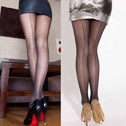 New Arrival Sexy Women's Ultra Sheer Transparent Line Back Seam Tights Stockings Pantyhose