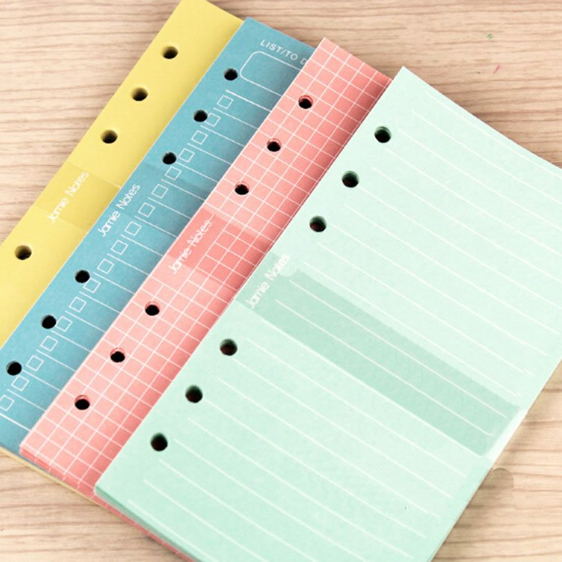 Colorful Candy A5 A6 Loose leaf  Filler Paper Solid Colorful List Grid Line Filler Paper Suitable For Filofax
