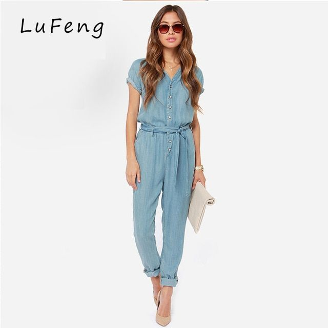 Spring New Casual V-Neck  Denim Overalls Jumpsuit Loose Bodysuit Rompers Womens Jeans long Female Jeans Macacao 15150B653-923