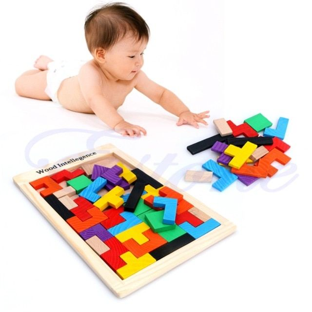 Tangram Brain Teaser Puzzle Tetris Game Children Wood Educational Toy