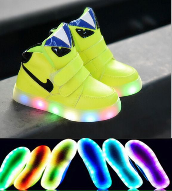 2016 Famous brand high quality LED children shoes casual Cool monster boys girls lighted children sneakers cute kids shoes
