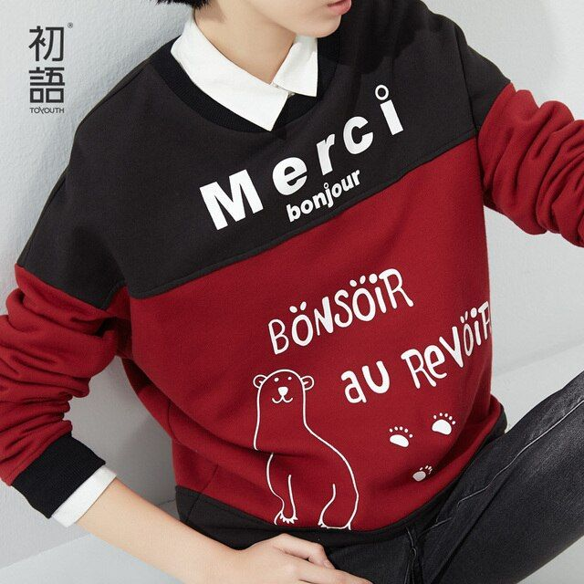 Toyouth Autumn Cartoon Letter Printed Sweatshirts Women's Pullover Hoodies Casual Loose Sweatshirt