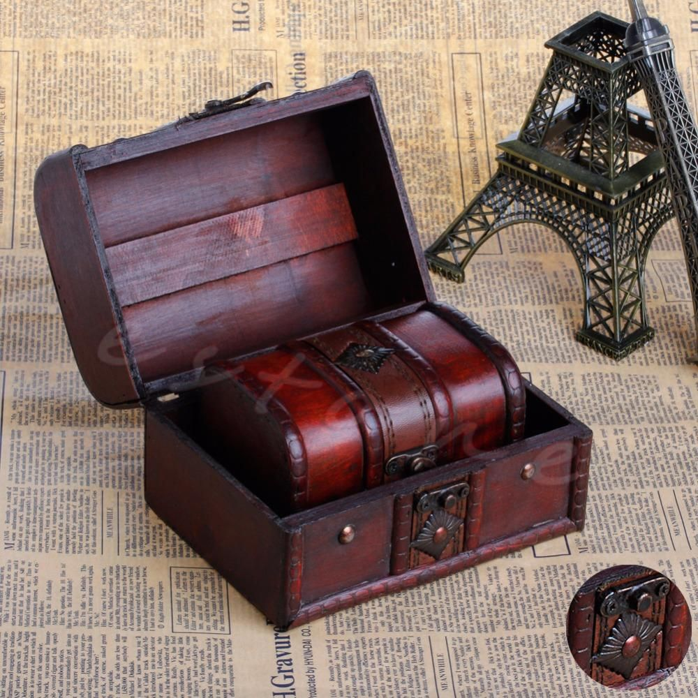 E74 2pcs Chic Wooden Pirate Jewellery Storage Box Case Holder Vintage Treasure Chest