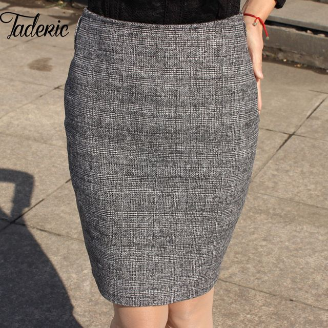 Jaderic  2016 New Lady Spring Autumn Sexy OL Above knee Mid-Waisted Swallow gird Office half skirt Split Plaid Pencil Skirt