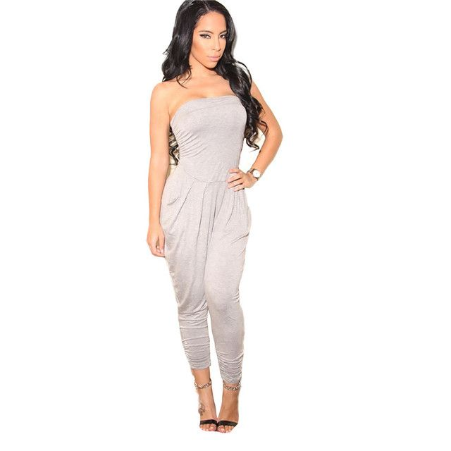 Sexy Strapless Jumpsuit Women Harem Pants 2017 Summer New Arrival Women's Loose Romper Overalls Macacao Feminino