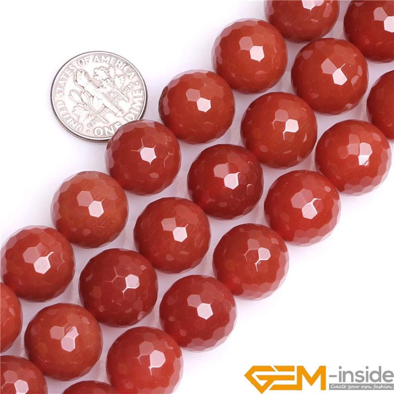 Round Faceted Red Agates Beads Natural Stone Beads For Bracelet Making for jewelry making Strand 15 inches Free Shipping