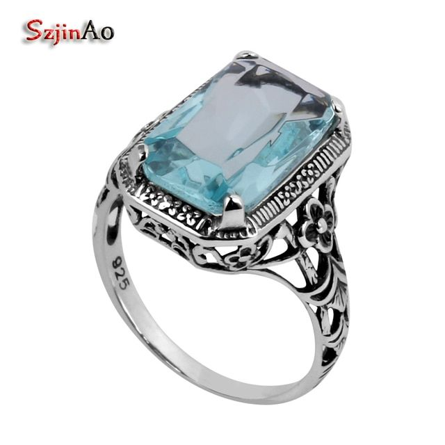 Szjinao Fashion 925 Sterling Silver Ring Flower Carving Antique Jewelry Wholesale Women Blue Crystal CZ Ring