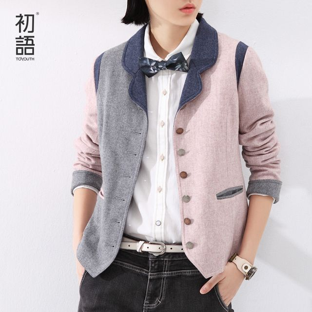 Toyouth 2017 Spring Women Wool Blazer Patchwork Design Long-Sleeve Blazer Special Button Ladies Blazers