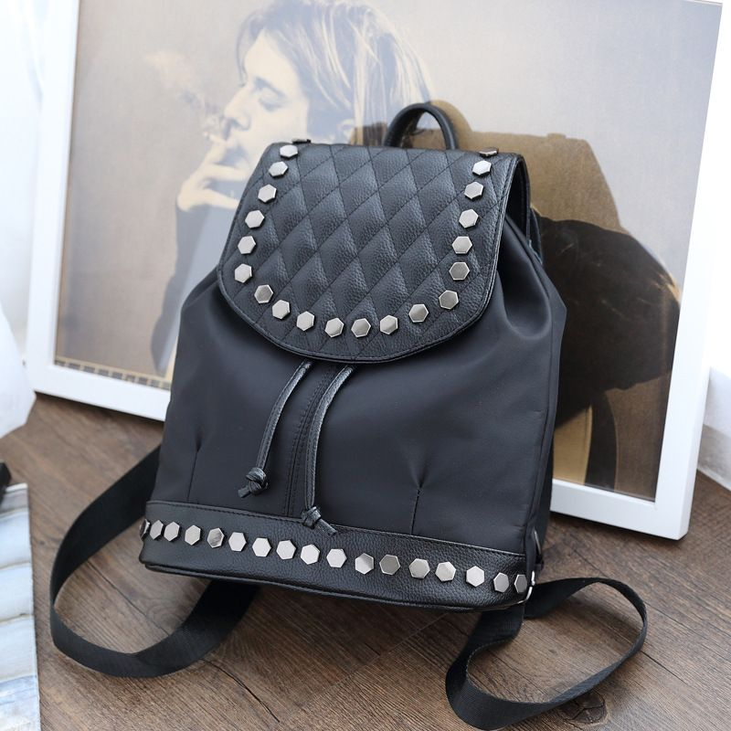 2017 New designer rivet women's backpack waterproof oxford cloth leisure bags fashion black drawstring ladies travel backpacks