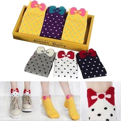 High Quality Women Cute 3D Bow Polka Dot Pattern Candy Color Cotton Blended Ankle Short Socks