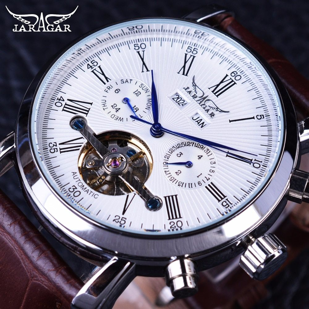 Jaragar Full Calendar Tourbillion Display Brown Leather Fashion Wearing Casual Mens Mechanical Automatic Watch Top Brand Luxury