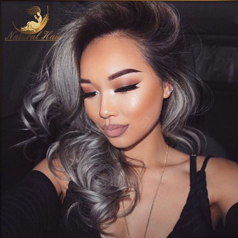 Brazilian Human Ombre Human Lace Front Wig 1B/Dark Grey Lace Front Wig Two Tone Dark Gray Human Hair Wigs Full Lace Wig