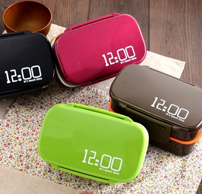 Creative It's lunch time 1410ml Double Layer Plastic Lunch Box Microwave oven Large Capacity Lunch Bento Box Lunchbox
