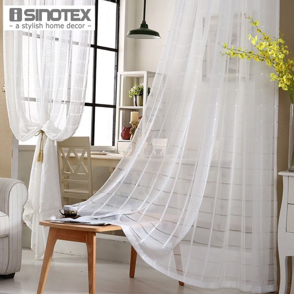 1PCS/Lot iSINOTEX Window Curtain Sheer Screening Stripped Transparent Living Room Fabric Tulle Voile