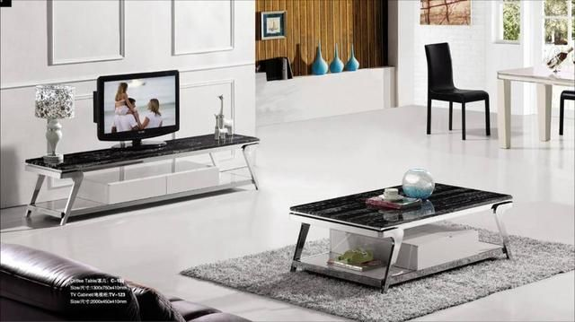 Stainless Steel And Marble Living Wood Furniture Set,Tea Coffee Table + TV Cabinet Set Grand And Duration Furniture YQ123