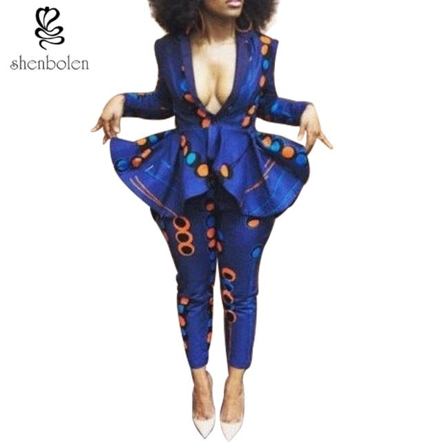 spring autumn winter 2018 African dresses for women ankara wax batik print pure cotton 2 pieces long sleeve coat+long pants suit