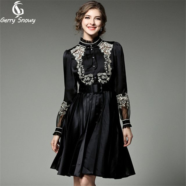 GerrySnowy embroidery Black dress 2017 Spring new  tunic Women dress stitching Vestido casual dress Size S-XL Free Shipping
