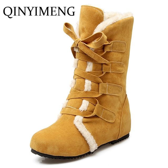 Snow Boots Big Size 34-49 Winter Wedge Heel Shoes Women Increase Insole Boots Lace Up Boot Mid Calf Bota Plush Casuals Shoe