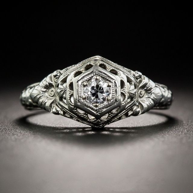 LASAMERO Round 0.3 CT  Moissanites Lab Grown Diamond Antique 10k White Gold Art Deco Solitaire Wedding Engagement Ring